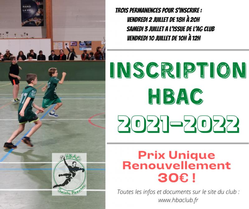 Inscription saison 2021-2022